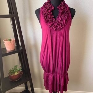 Pink v neck ruffled neck in pink size small